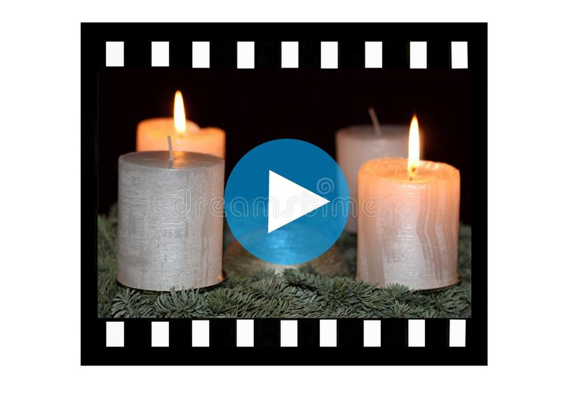 Film strip with burning candles. On white background and sign PLAY stock illustration