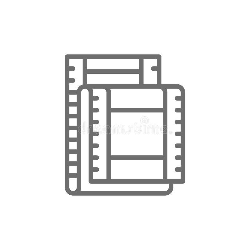 Film strip, cinema frames line icon. Isolated on white background stock illustration