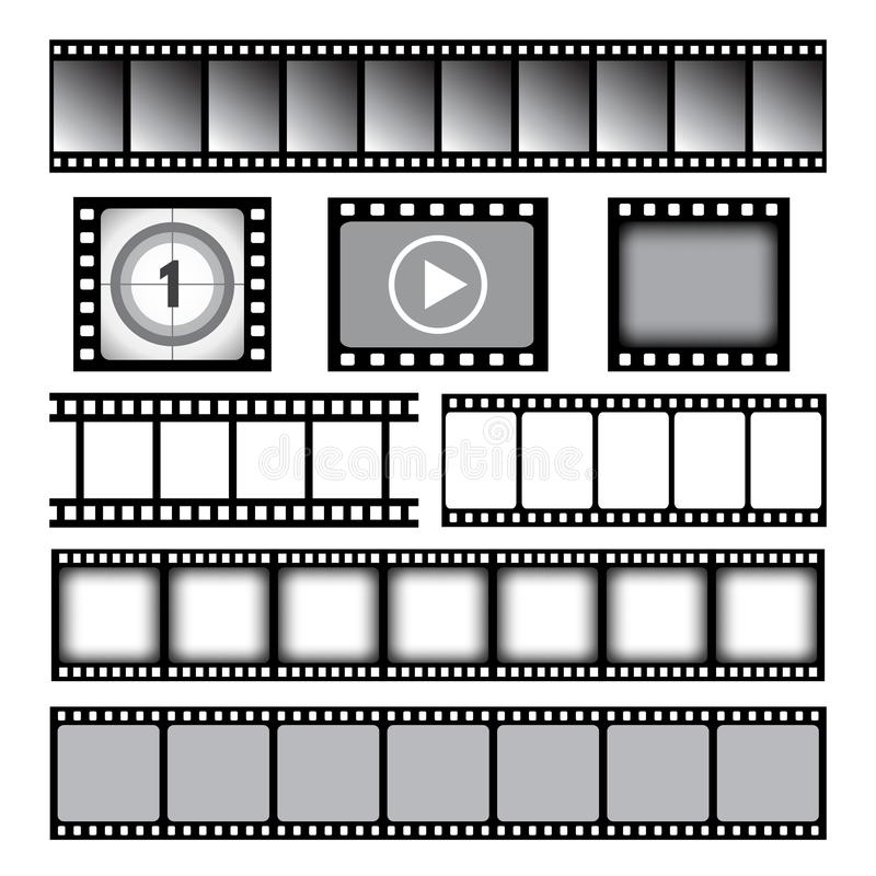 Film strip. Cinema or photo tape movie 35mm strip reels vector graphic template royalty free illustration