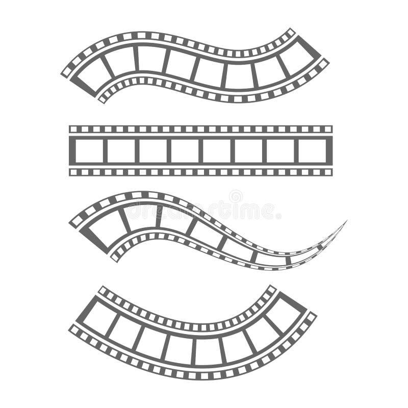 Film strip Cinema strip roll  blank slide frame  photo video monochrome picture negative vintage media filmstrip  vector movie. Design, cinematography stock illustration