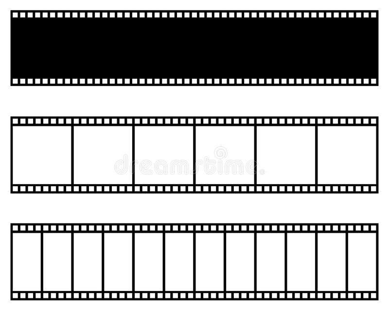 Film strip collection. Vector template. Cinema, movie, photo, filmstrip frame. royalty free illustration