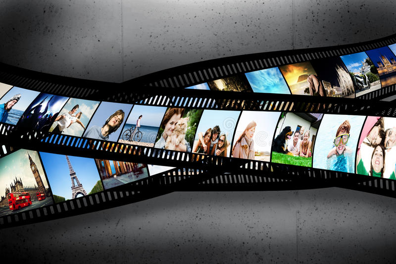 Film strip with colorful photographs on grunge wall. Film strip with colorful, vibrant photographs on grunge wall. Various themes. All pictures used are mine vector illustration