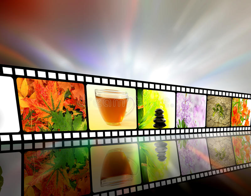 Film strip concept. Film strip of nature against abstract background vector illustration