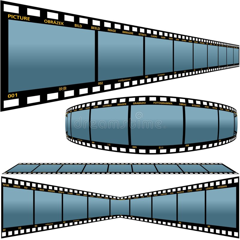 Film strip D. Detailed vector illustration