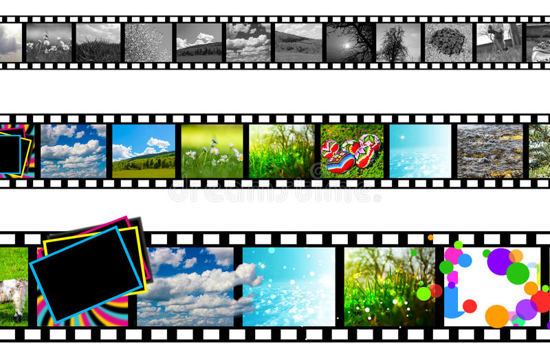Film strip. The evolution of film strip, from B&W to 3D vector illustration