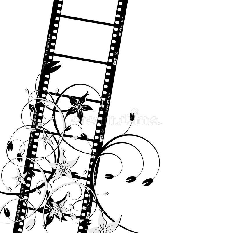Film strip with flowers stock illustration