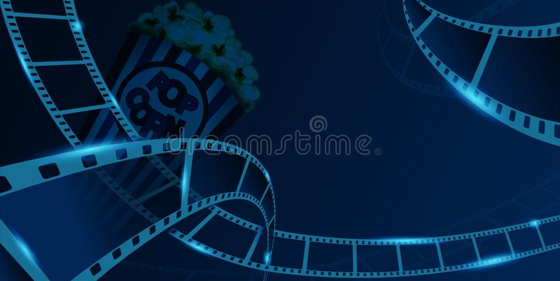 Film strip frame with pop corn box isolated on blue background. Closeup view for design layout cinema festival banner royalty free illustration