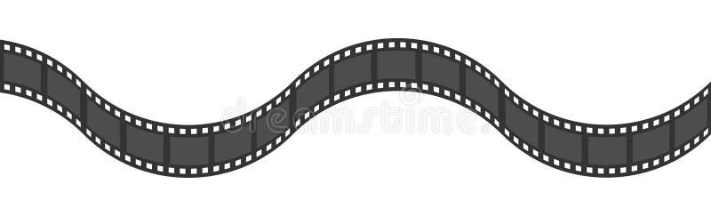 Film strip frame ribbon. Wave shape ribbon. Design element. White background. Movie cinema sign symbol template. Isolated. Flat. Design. Vector illustration royalty free illustration