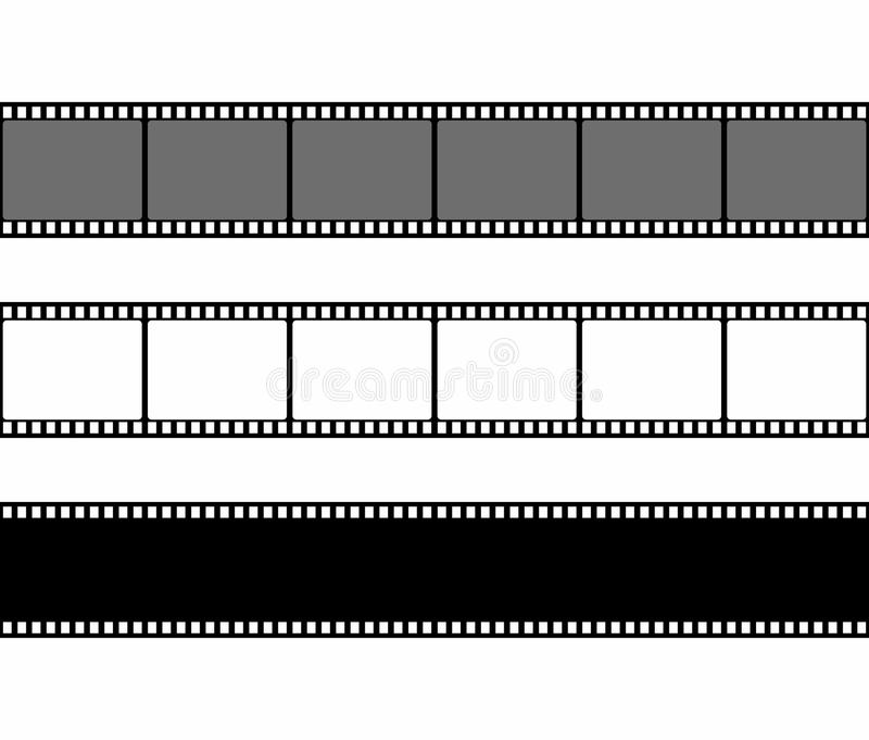 Film strip frame set in flat style isolated on white background. Design element royalty free illustration
