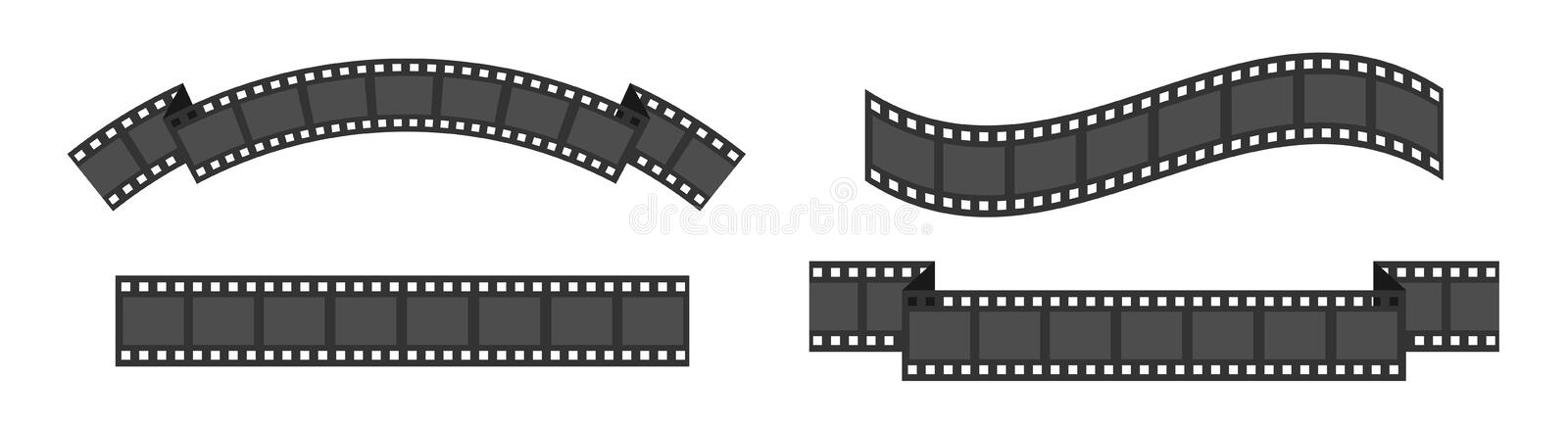 Film strip frame set line. Different shape ribbon. Movie cinema icon. Design element. White background. Isolated. Flat design royalty free illustration