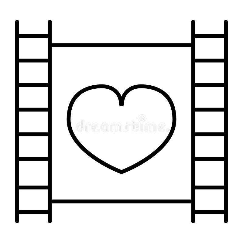 Film strip with heart thin line icon. Cinema vector illustration isolated on white. Love movie outline style design. Designed for web and app. Eps 10 stock illustration