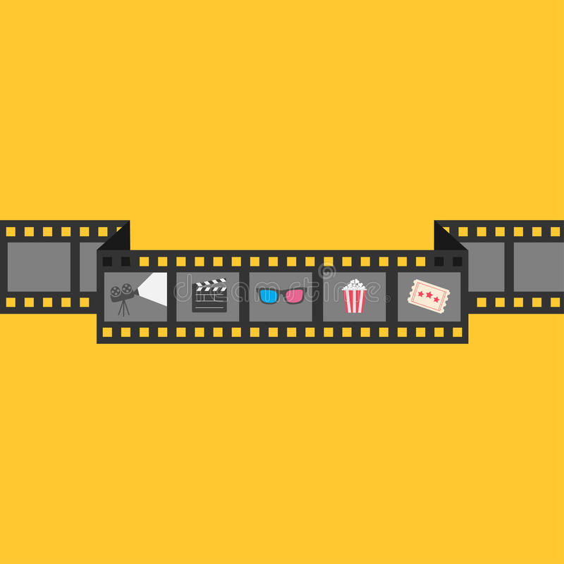 Film strip icon set. Popcorn, clapper board, 3D glasses, ticket, projector. Cinema movie night. Flat design style. Yellow backgrou. Nd. Vector illustration royalty free illustration