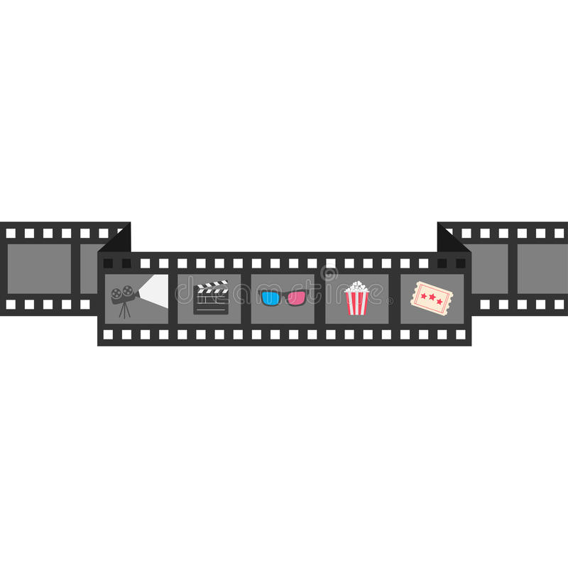 Film strip icon set. Popcorn, clapper board, 3D glasses, ticket, projector. Cinema movie night. White background. Isolated. Flat stock illustration