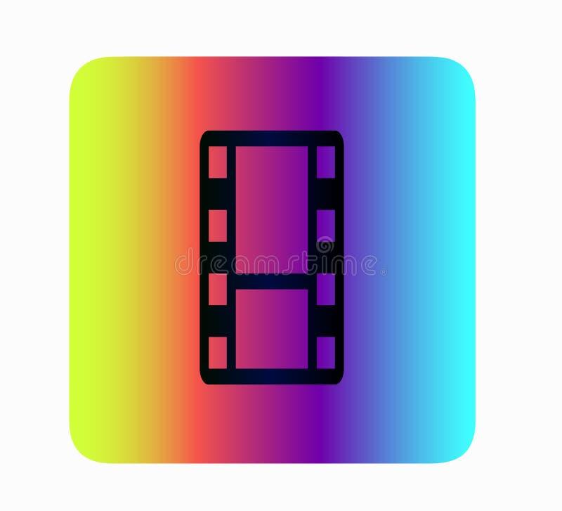 Flat vector film reel button. Film strip Movie icon. Vector illustration. Flat Design - Neon Vector Icon royalty free illustration