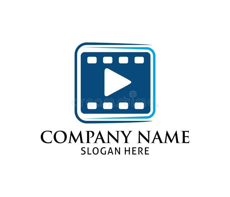film strip with multimedia play icon application vector logo design rh dreamstime com film logo vector free film reel logo vector