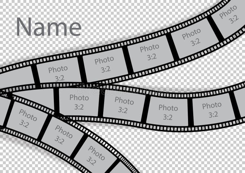 Film strip photo frame effect template collage. Vector illustration stock illustration