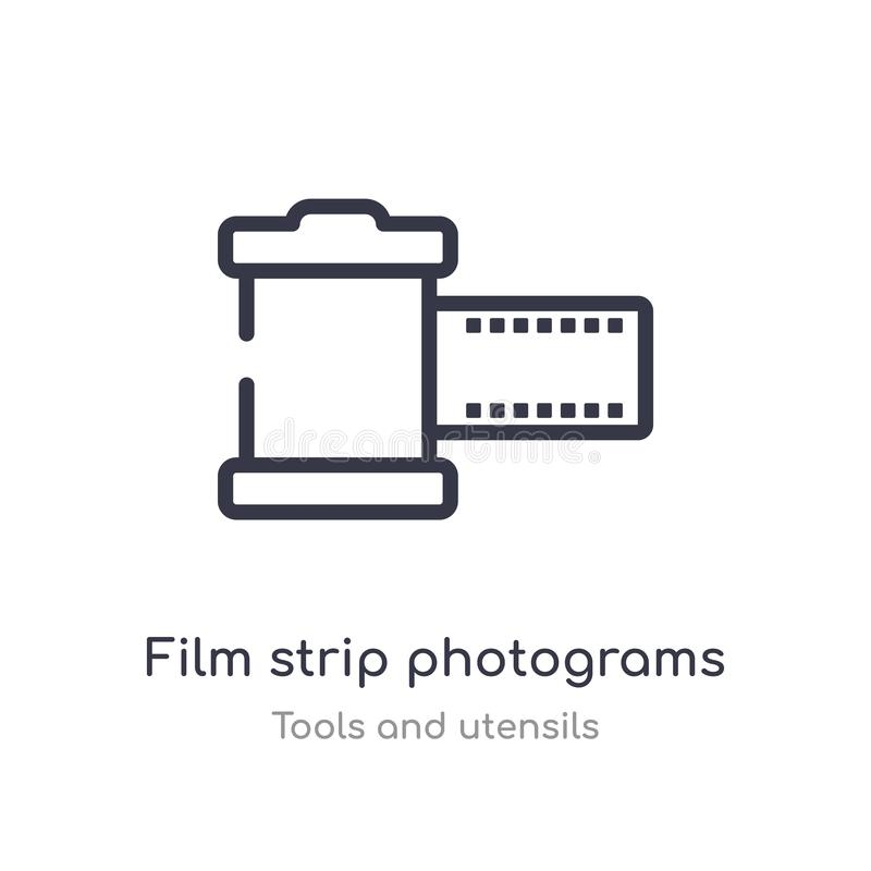 film strip photograms outline icon. isolated line vector illustration from tools and utensils collection. editable thin stroke royalty free illustration