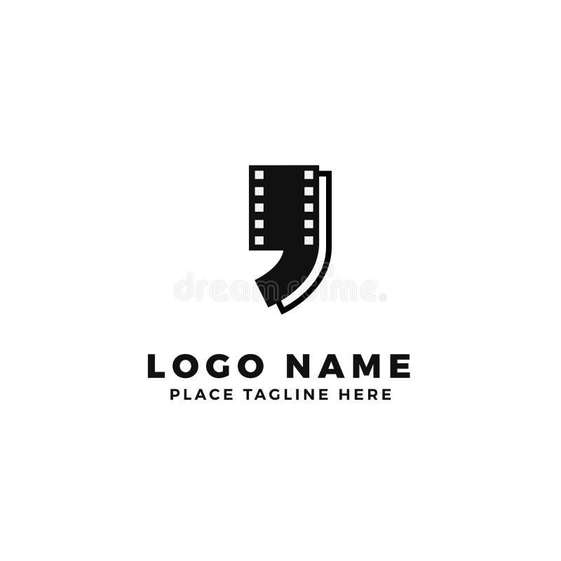 Film strip quote logo design. movie review talk illustration royalty free illustration