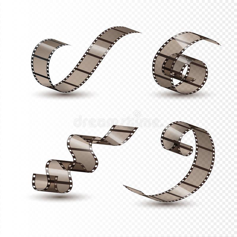Film strip roll. Cinema tape set design. Filmstrip movie entertainment. Cinematography frame vector illustration
