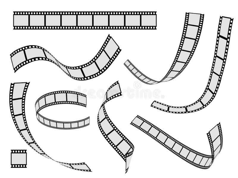 Film strip set. Cinema strip roll 35mm blank slide frame, photo video monochrome picture negative vintage media, vector royalty free illustration