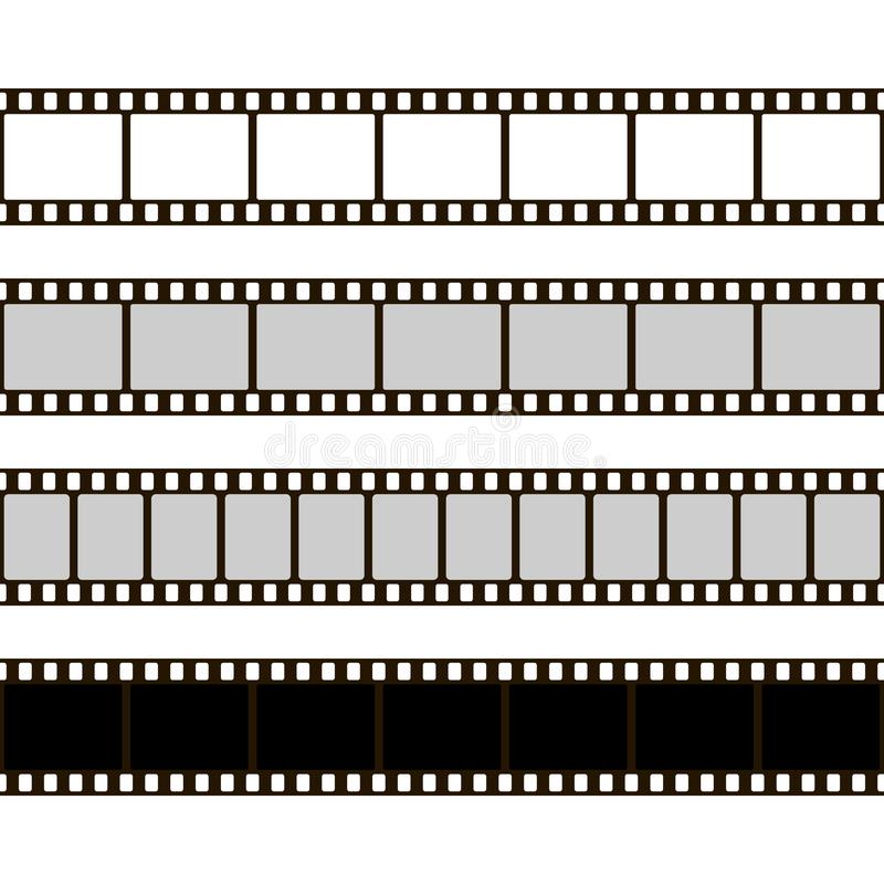 Film strip set. Collection of film for the camera. Cinema frame. Vector illustration. Template of negative on white background vector illustration