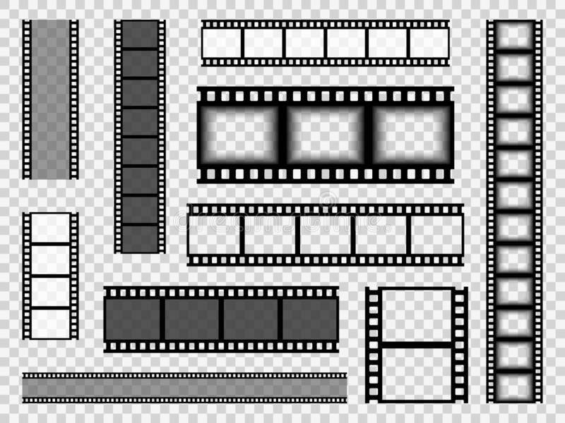Film strip templates. Cinema monochrome border tape, media empty image photo video vintage frame movie reel vector set royalty free illustration