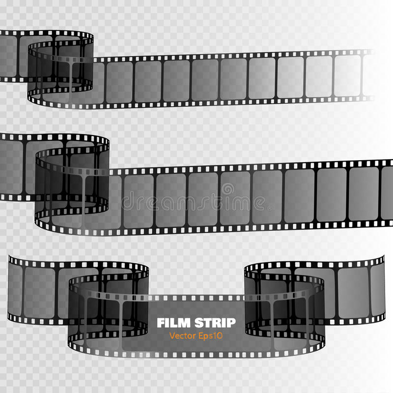 Film strip on transparent background. Movie reel template. Vector. Film strip on transparent background. Movie reel template for your design. Vector illustration royalty free illustration