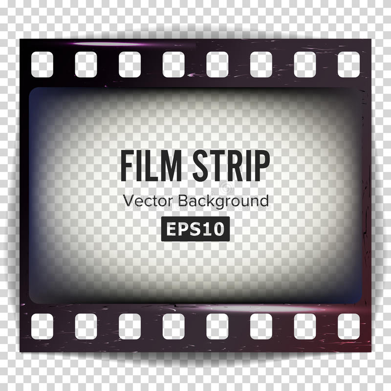 Film Strip Vector. Frame Strip Blank Scratched Isolated On Transparent Background. vector illustration