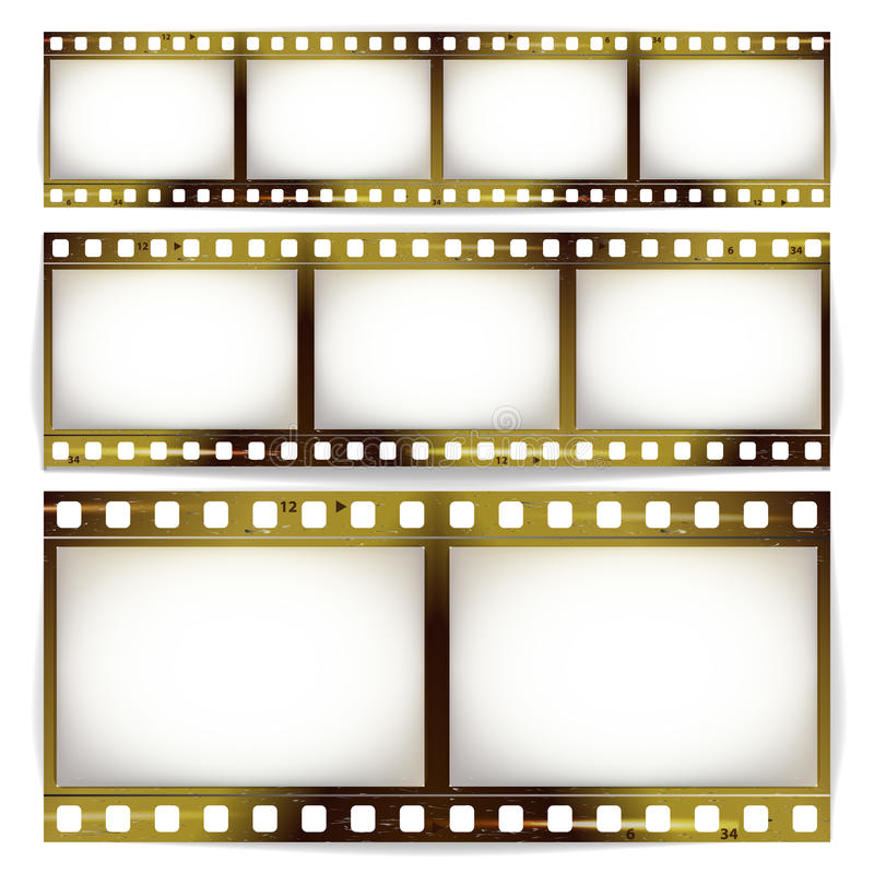 Film Strip Vector Set. Cinema Of Photo Frame Strip Blank Scratched Isolated On White Background. royalty free illustration