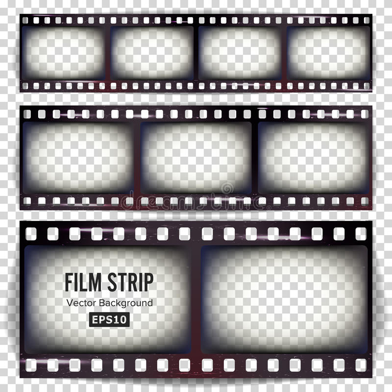 Film Strip Vector. Set Realistic Frame Strip Blank Scratched Isolated On Transparent Background. royalty free illustration