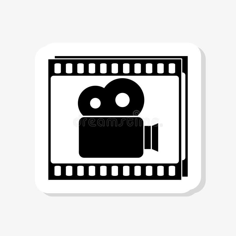 Film strip with video camera sticker icon. Cinema symbol. On white royalty free illustration