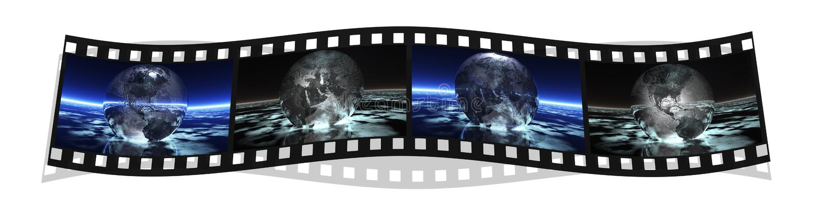 Film stripe with 4 images of the earth stock illustration