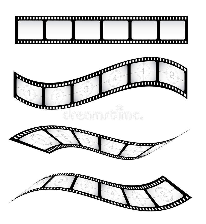 Film Strips. Various film strips for designs royalty free illustration