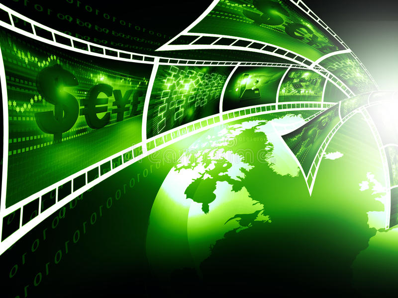Film strips with business images stock illustration
