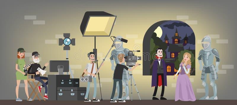 Film studio building interior royalty free illustration