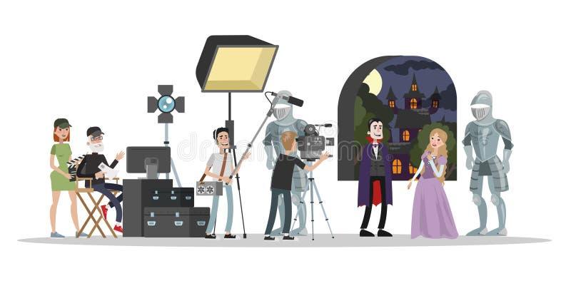 Film studio building. Shooting fantastic horror movie vector illustration