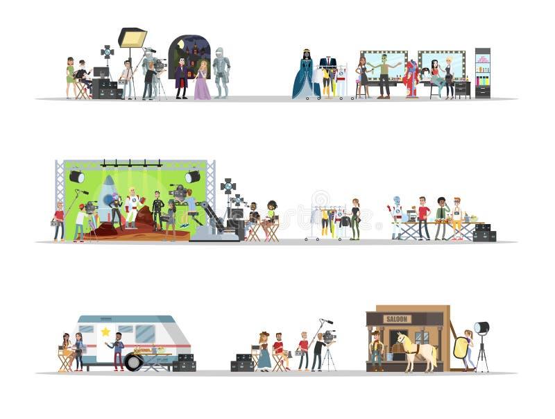 Film studio interior with actors set illustration vector illustration