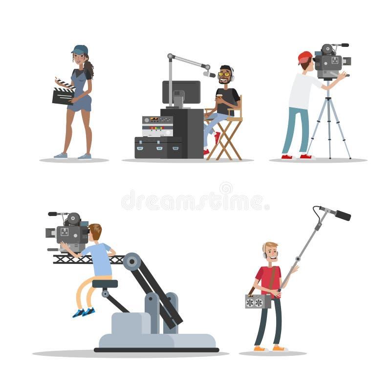 Film studio staff set stock illustration