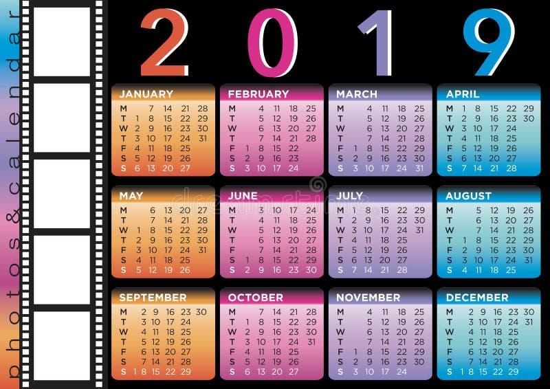Film style calendar 2019 royalty free illustration