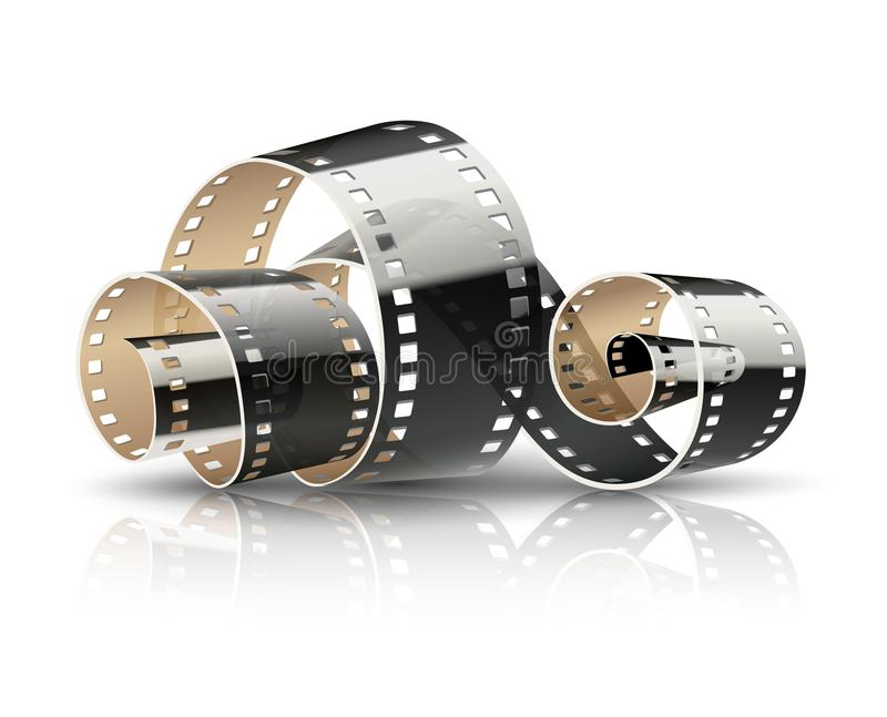 Film tape twisted reel for cinema movies vector illustration