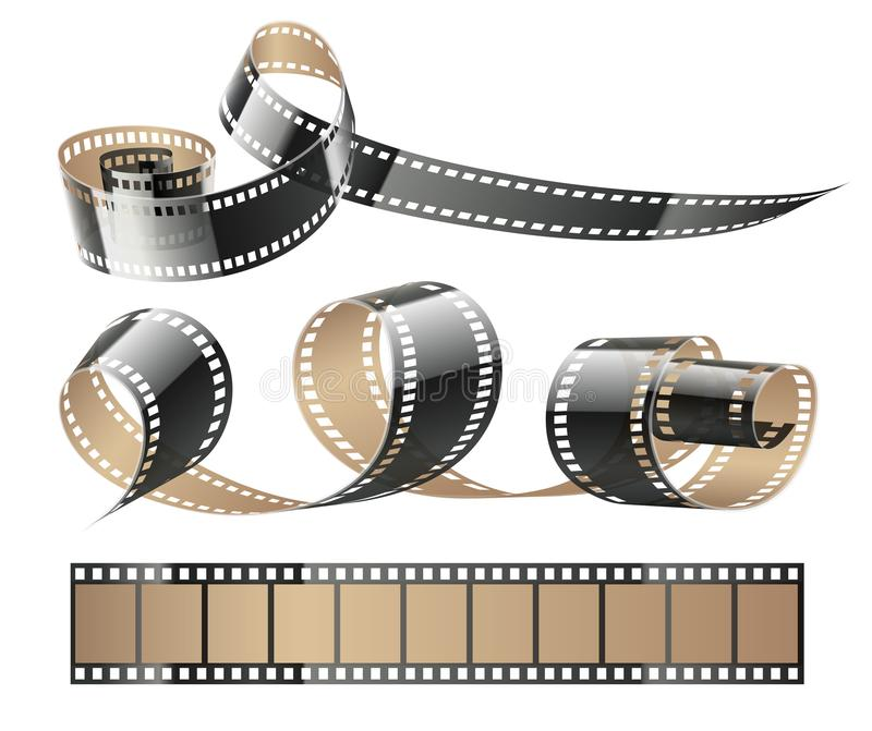 Film tape twisted reels for cinema movies royalty free illustration