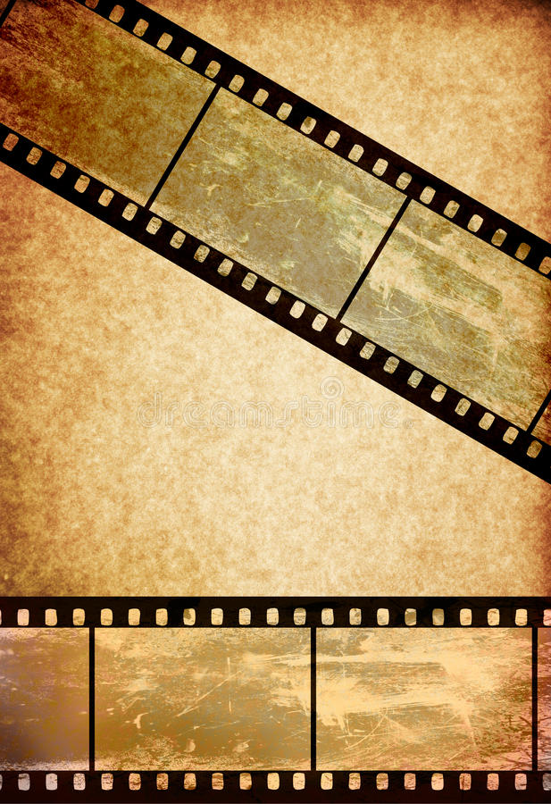 Film tape on vintage old paper background stock illustration