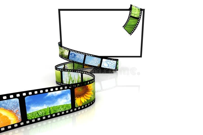 Film um unbelegten Fernsehapparat lizenzfreie abbildung
