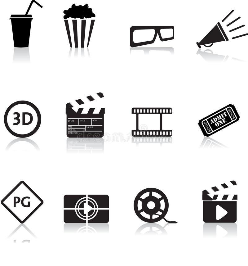 Film und Kinoikonenset lizenzfreie abbildung