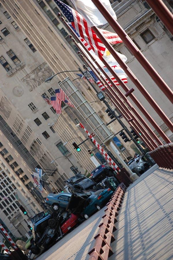 Film van Transformatoren 3 in Chicago Van de binnenstad stock foto