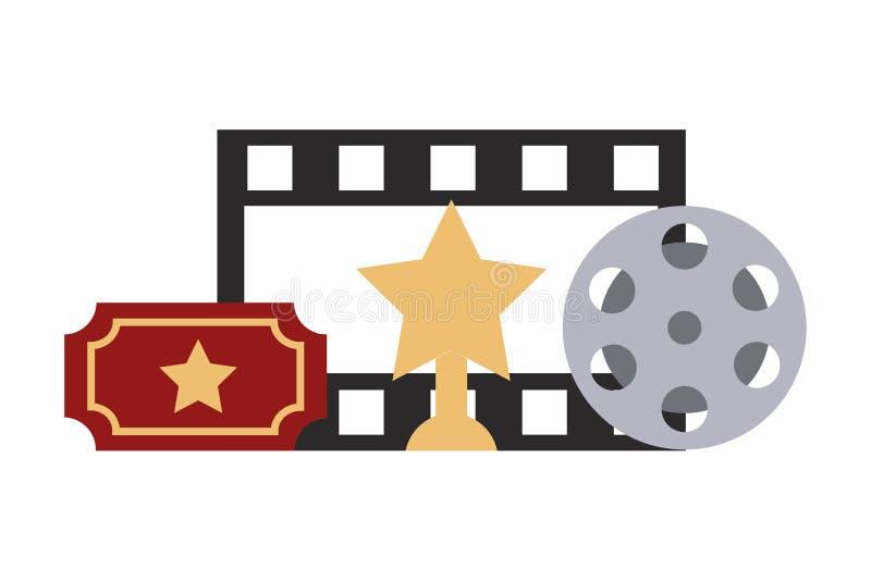 Film vastgesteld objecten pictogram royalty-vrije illustratie