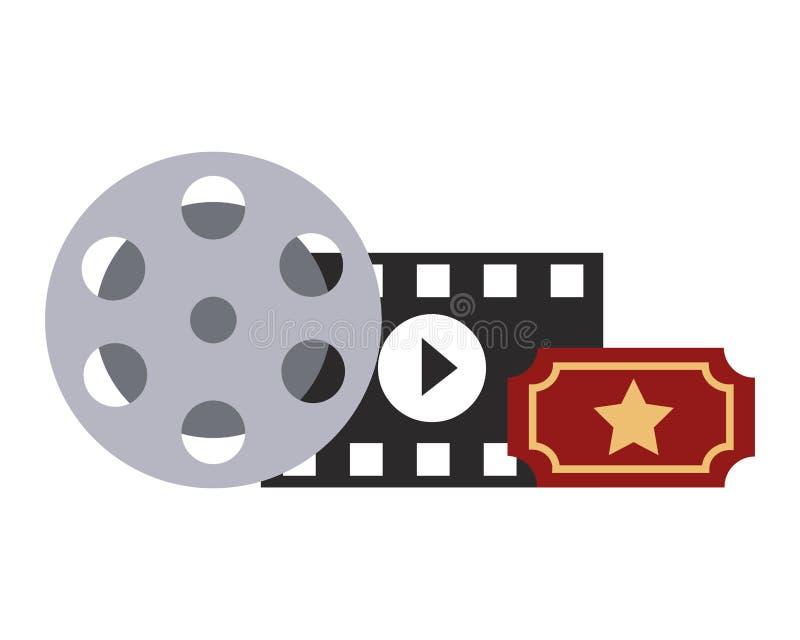 Film vastgesteld objecten pictogram stock illustratie