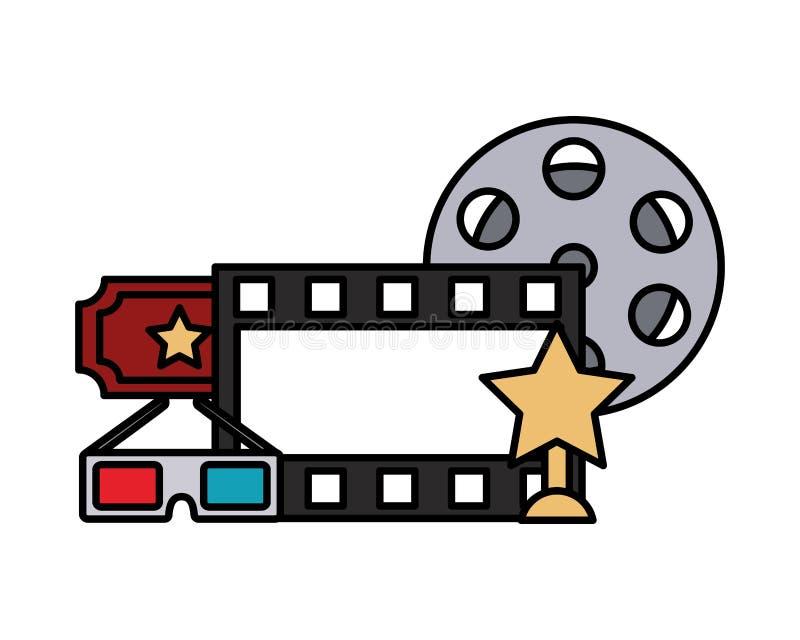 Film vastgesteld objecten pictogram vector illustratie