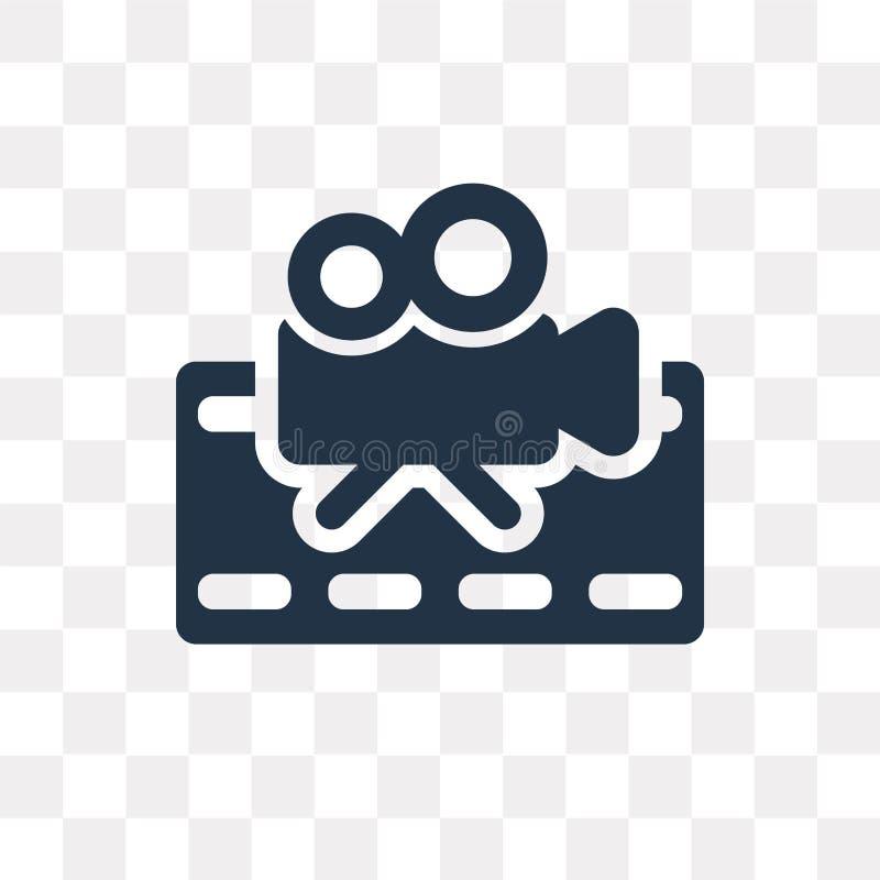 Film vectordiepictogram op transparante achtergrond, Filmtra wordt geïsoleerd stock illustratie