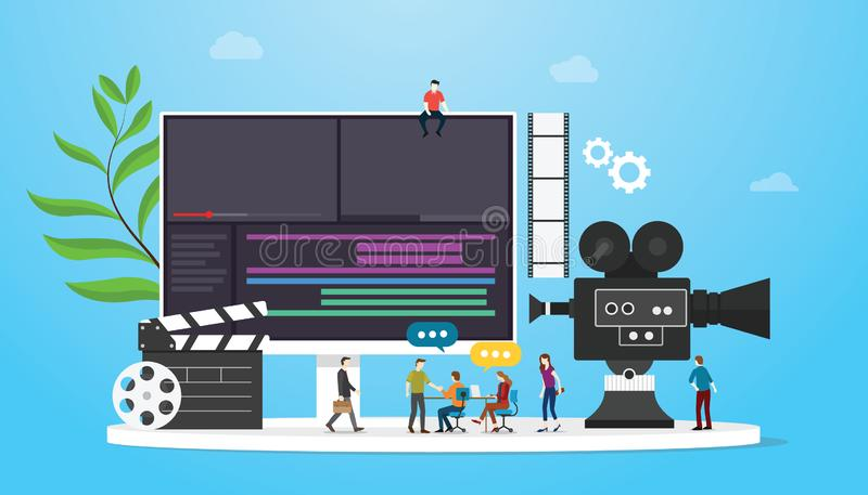 Film video production concept with team people and camera editing with team people with flat modern style - vector. Illustration vector illustration